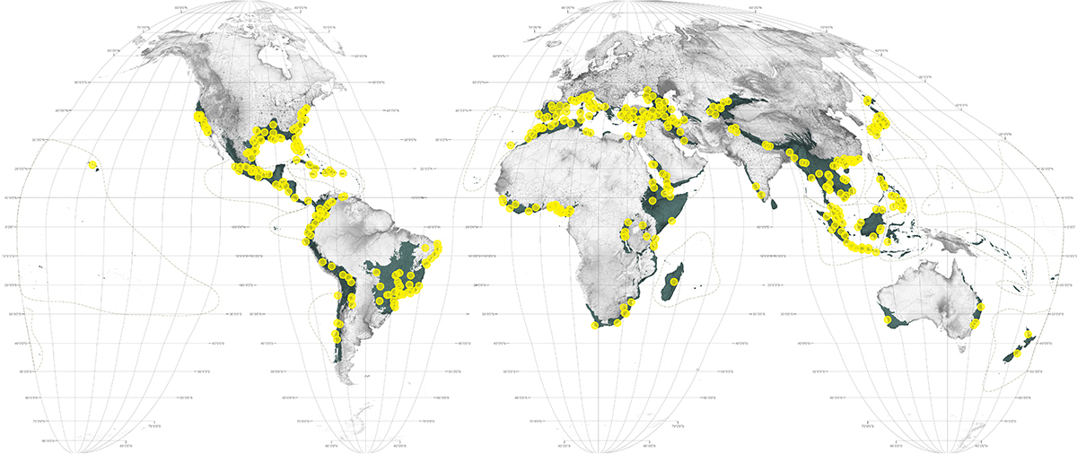 Afew world maps hotspot cities cities of 300000 or more people projected to sprawl into remnant habitat in the worlds biological hotspots gumiabroncs Gallery